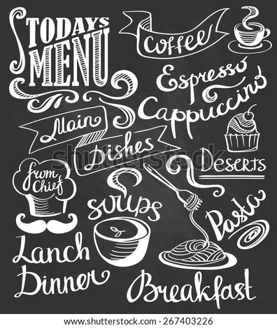 hand-drawn lettering. Cake, pasta, soup, coffee. Cute logos. - stock vector