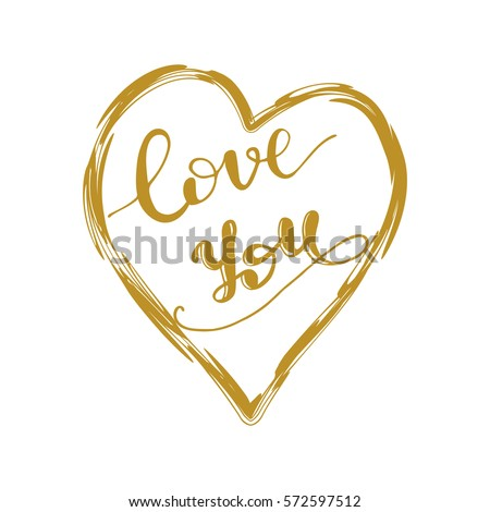 I Love You Gold Calligraphy Stock Images Royalty Free