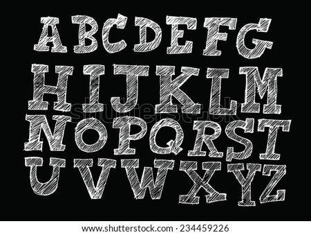 Hand drawn letters font written with a pen  - stock vector