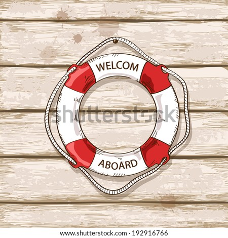Hand drawn lifebuoy on old boards of ship deck background - stock vector