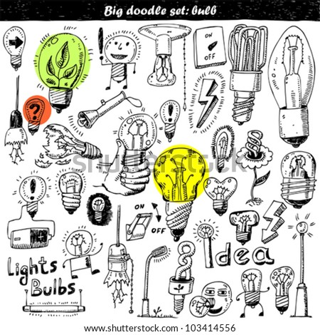 Hand-drawn light bulbs and elements for your design - stock vector