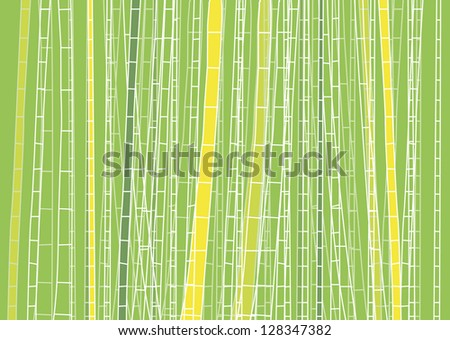 Hand Drawn Light Green Bamboo Forest - vector illustration - stock vector