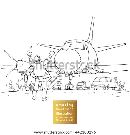 Hand drawn  line art cartoon vector background. Black and white illustration. Plane in airport. Air traffic controller holding light signs at the airport. - stock vector
