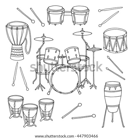 Hand Drawn Line Drums Set