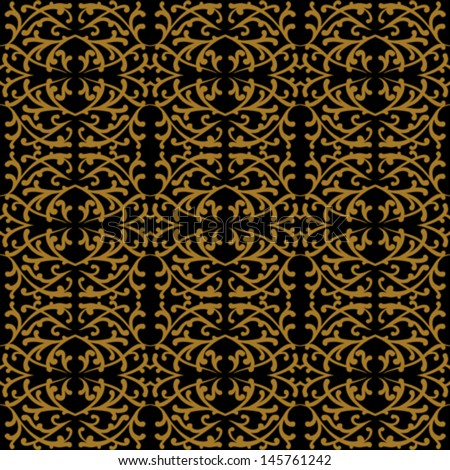 Hand drawn linear pattern in baroque and rococo style with damask motifs with gold curling lines. Texture for web, print, holiday home decor, wedding invitation or luxury restaurant website background - stock vector