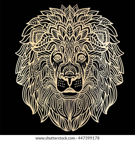 Handdrawn Lion Ethnic Floral Line Art Stock Vector
