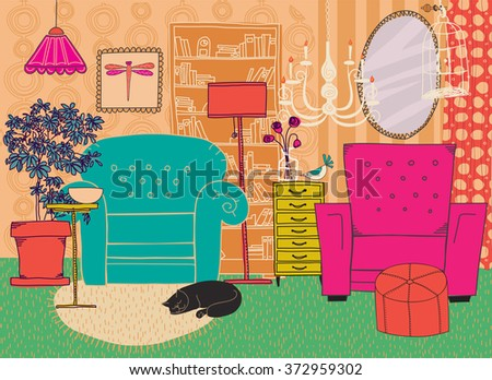 Hand Drawn Living Room Furniture - Cartoon-style living room furniture and accessories, including armchairs, bookshelf, chandeliers, chest of drawers and birdcage   - stock vector