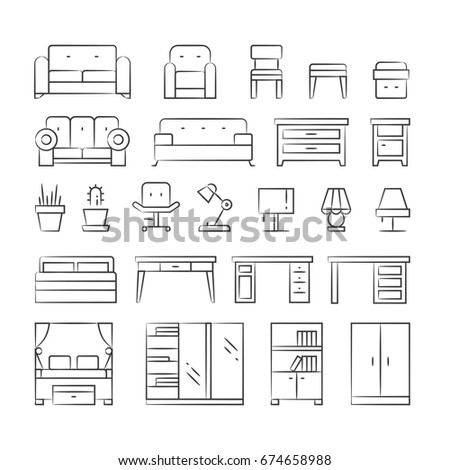 Hand drawn living room furniture icons stock vector for Living room outline