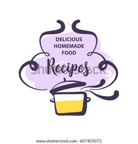 Handdrawn logo delicious homemade food recipe vector de hand drawn logo for delicious homemade food recipe concept template logotype with abstract cooking forumfinder Images