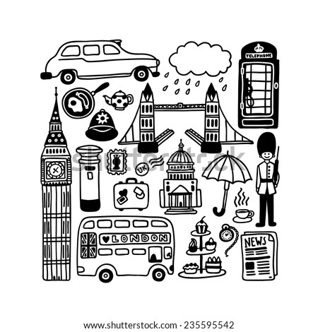 hand-drawn London doodles - stock vector
