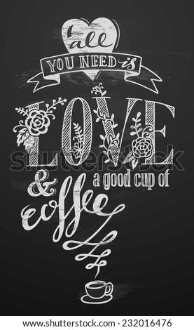 hand-drawn love banner on chalkboard - stock vector
