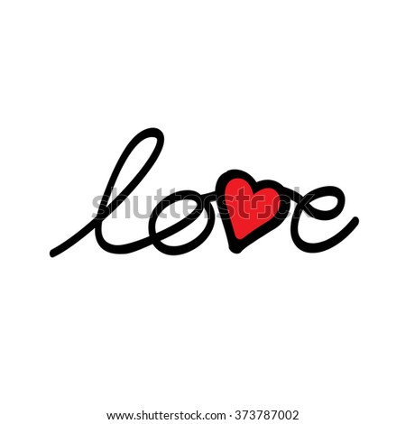 Hand Drawn Love Word With Heart For Valentines Day Vector Graphic