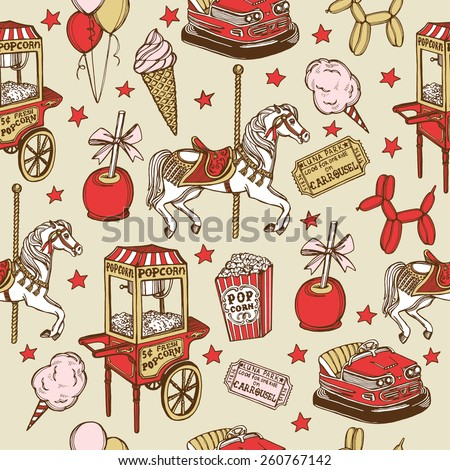 Hand drawn luna park vintage seamless pattern. Carousel horse, pop corn, balloon dog, candy apple, ice cream, amusement park tickets, air balloons, bumper car, popcorn machine, stars - stock vector