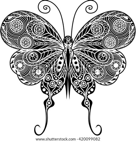 Hand Drawn Magic Butterfly For Adult Anti Stress Coloring Page With High Details Isolated On White