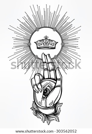 Hand drawn magic hand of God, with Eye of Providence, crown in rays of light.  Isolated vector illustration. Tattoo, alchemy, religion, spirituality, magic. Divine blessing gesture. Good luck amulet. - stock vector