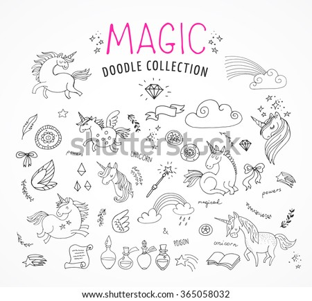 hand drawn, magic, unicorn and fairy doodles - stock vector