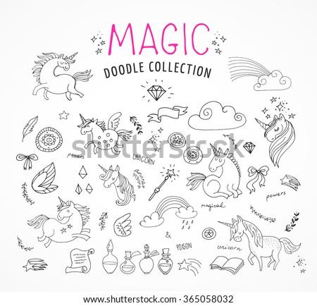 hand drawn, magic, unicorn and fairy doodles - stock vector