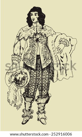 Hand drawn man in historical costume of 18 century France. Rococo period/ - stock vector