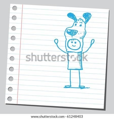 Hand drawn man wearing dog mask - stock vector