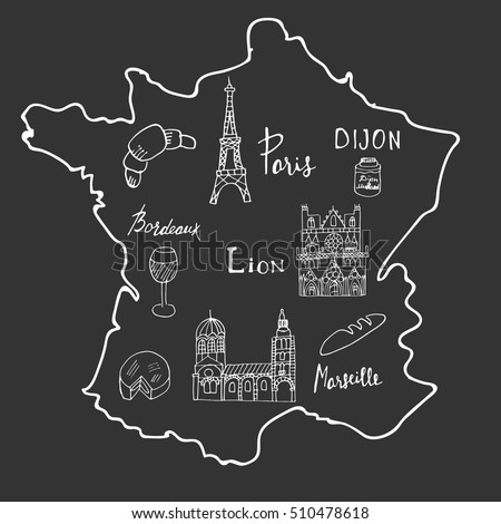 Hand Drawn Map France Different Symbols Stock Vector HD Royalty