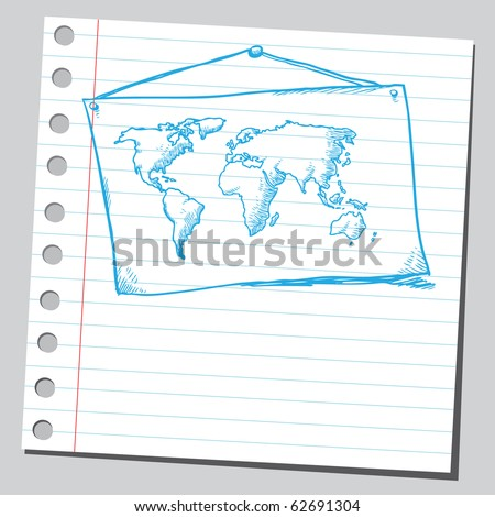 Hand drawn map of the world