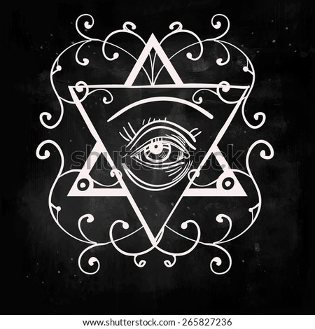 Hand drawn masonic symbol: the all seeing eye in the triangle and laurel wreath . Chalk on a blackboard. Vector illustration. Magic objects doodle style, Alchemy medieval science. Tattoo template  - stock vector