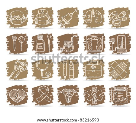 hand drawn medical icons - stock vector