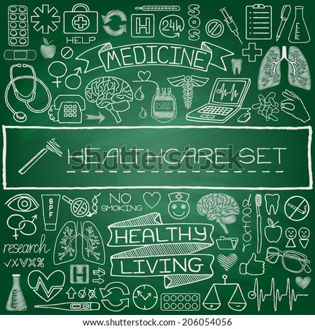 Hand drawn medical set of icons with medical and science tools, human organs, diagrams etc. Green chalkboard effect. Vector illustration. - stock vector