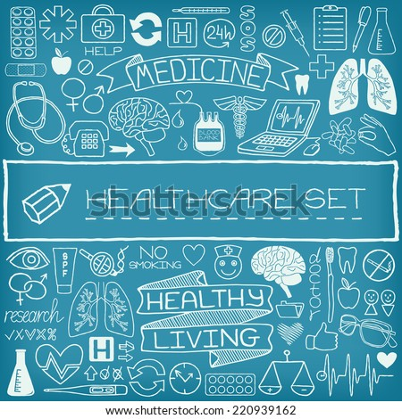 Hand drawn medical set of icons with medical and science tools, human organs, diagrams etc. Vector illustration.  - stock vector