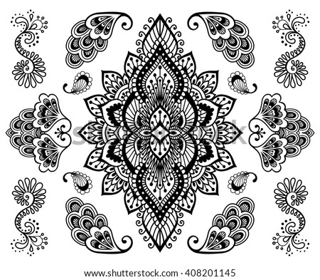handdrawn mehendi ornament collection indian henna stock vector 408201145 shutterstock. Black Bedroom Furniture Sets. Home Design Ideas