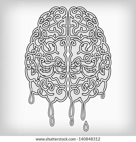 Hand Drawn Melt Brain, a thinking human concept, EPS10 Vector background - stock vector