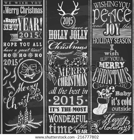 hand drawn Merry Christmas design elements on chalkboard - stock vector