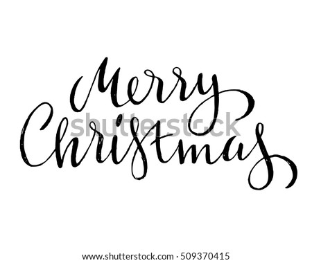 Hand Drawn Merry Christmas Lettering Stock Vector