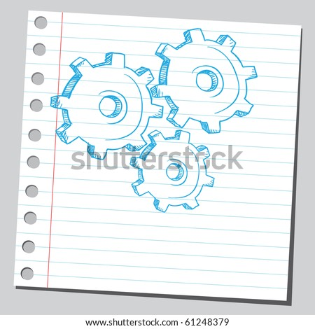 Hand drawn metal gears - stock vector