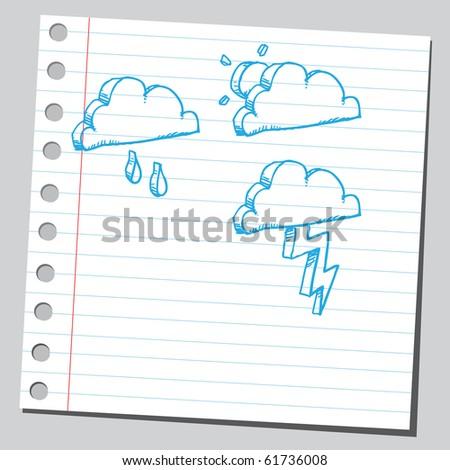 Hand drawn meteorology symbols set two - stock vector