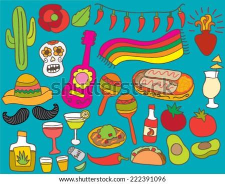 Hand Drawn Mexican Cinco De Mayo Fiesta - stock vector