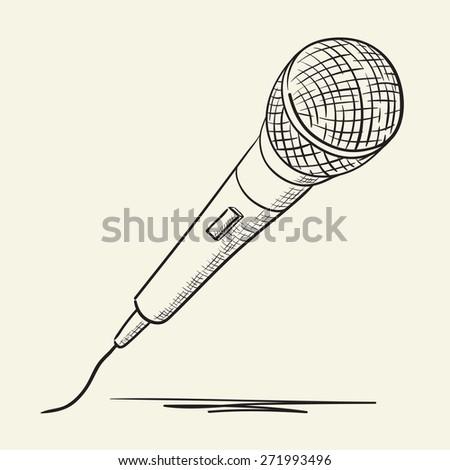 Hand drawn microphon illustration - stock vector