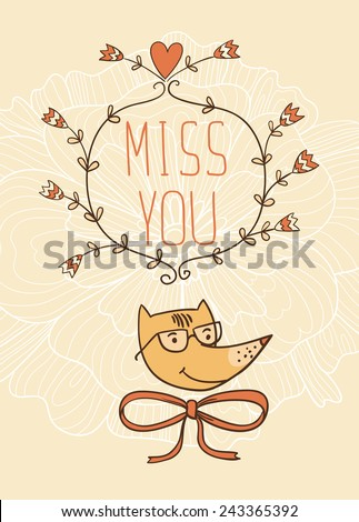 Hand drawn miss you card. vector illustration. Valentine's Day card - stock vector