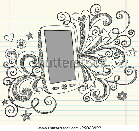 Hand-Drawn Mobile Cell Phone PDA Sketchy Notebook Doodles with Swirls, Hearts, and Shooting Stars- Vector Illustration Design Elements on Lined Sketchbook Paper Background - stock vector