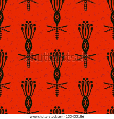 Hand drawn modern floral ornamented seamless pattern in red and black with stylized flowers. Texture background for web, print, home decor, textile, wrapping paper, Indian or Arabic cuisine restaurant - stock vector