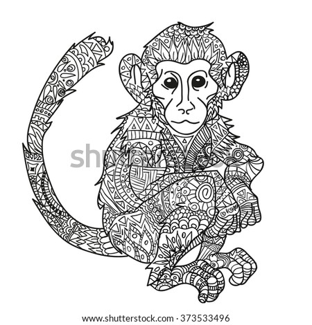 hand drawn monkey isolated on white anti stress coloring page vector monochrome sketch