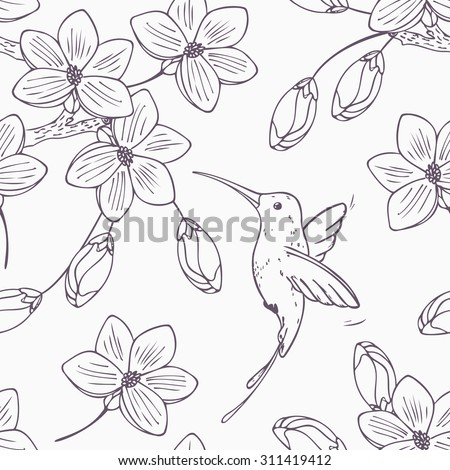 Hand drawn monochrome version of seamless pattern with humming bird colibri and flowers in vector. Doodle style floral illustration with hummingbird - stock vector