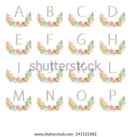Hand drawn monogram wreath table card A to P. Vector illustration - stock vector