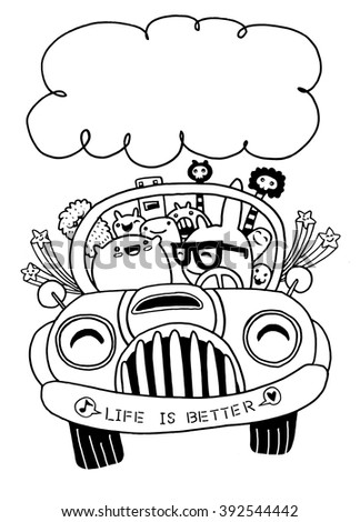 Hand drawn Monsters and cute alien friendly, having fun driving their car on a road trip.vector illustration  - stock vector