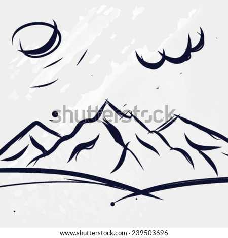 Hand drawn mountains with clouds - stock vector