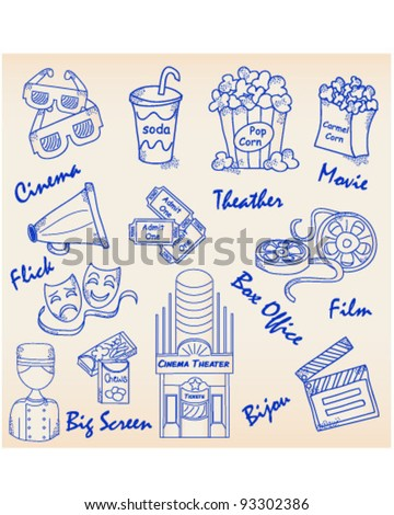 Hand Drawn Movie Icons Set   vector is eps10 - stock vector
