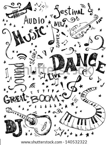 Hand drawn music doodles - stock vector