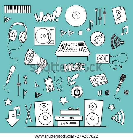 Hand drawn Music items set, Vector illustration - stock vector
