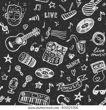 Hand drawn music seamless background pattern - stock vector