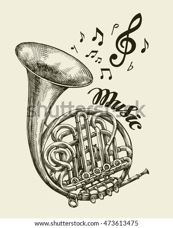 handdrawn musical french horn sketch vintage stock vector